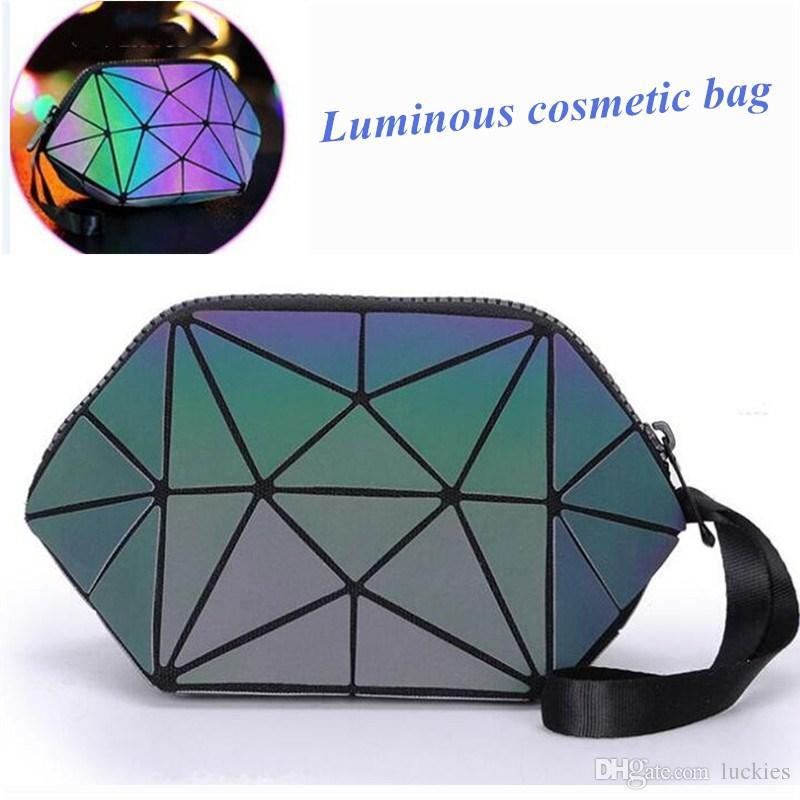 b8dd77faa6d6 Holographic Geometric Clutch PU Makeup Bag Luminous Laser Cosmetic Bag for  Women
