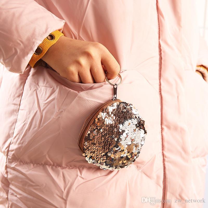 2018 핫 귀여운 인 어 공주 스팽 틴 동전 지갑 미니 스토리지 가방 키 링 지갑 지퍼 라운드 봉 제 코인 가방 학생들을위한 헤드폰 가방
