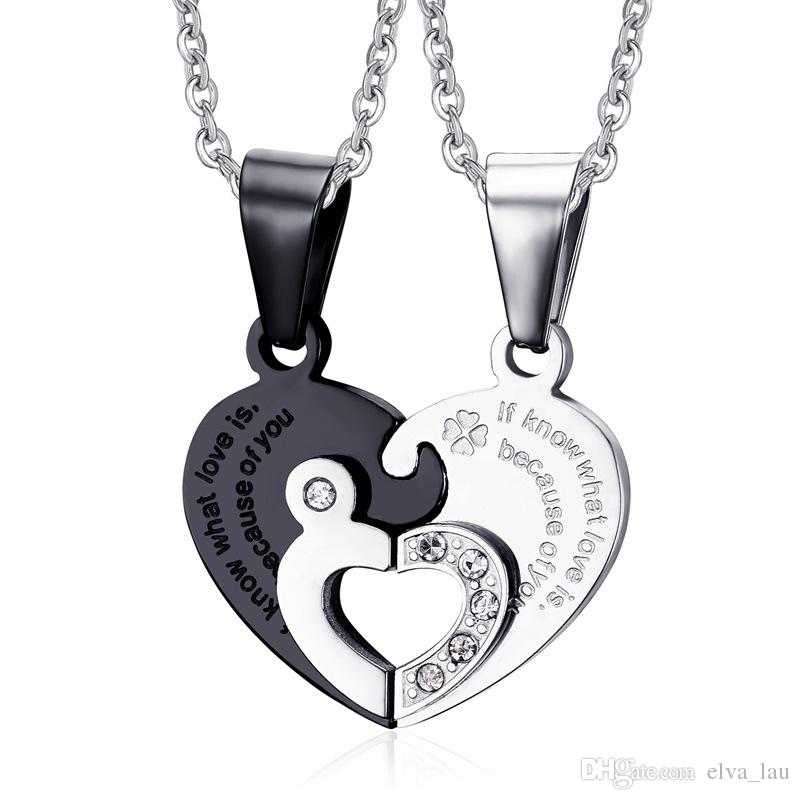 Wholesale stainless steel chain black heart love necklaces for wholesale stainless steel chain black heart love necklaces for couples korean ladies fashion trendy paired suspension pendants model four colors cute mozeypictures Gallery