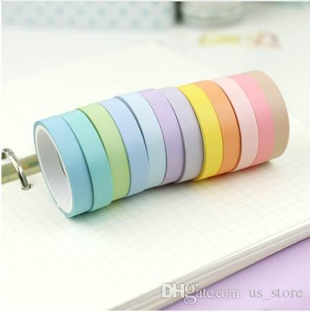 12 Pcs/lot 7.5 x 3m Rainbow Decorative Adhesive Tape Masking Washi Tape Decoration Diary School Office Supplies Stationery 2016