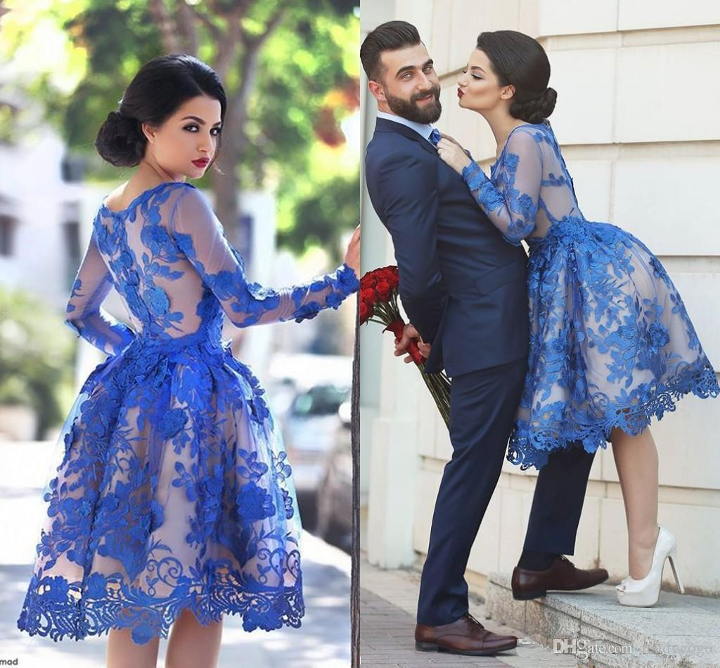 New Royal Blue Long Sleeves Lace Arabic Cocktail Dresses Scoop Knee Length A Line Homecoming Dresses Party Prom Gowns Vestidos Said Mhamad