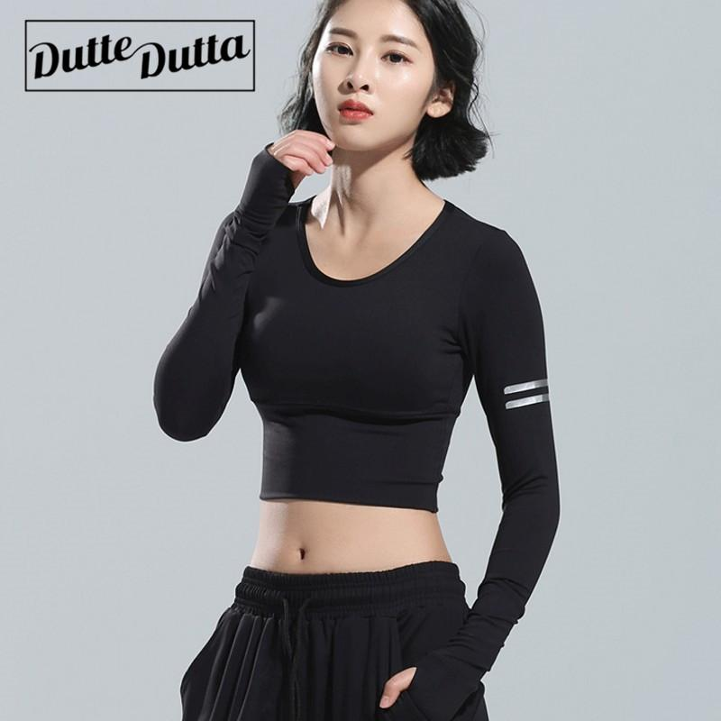 b87bcec0fa189 2019 Black Women Sport T Shirt Tight Slim Yoga Tee Tops Workout Fitness  Sport Clothing Running Long Sleeve Athletic Gym Shirt From Kuyee, $35.52 |  DHgate.