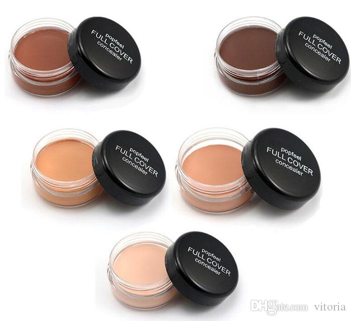 Top Quality Popfeel 5 Colors Portable Round Full Cover Concealer Natural Makeup Concealers Facial Face BB Cream Foundation Contour Cosmetic