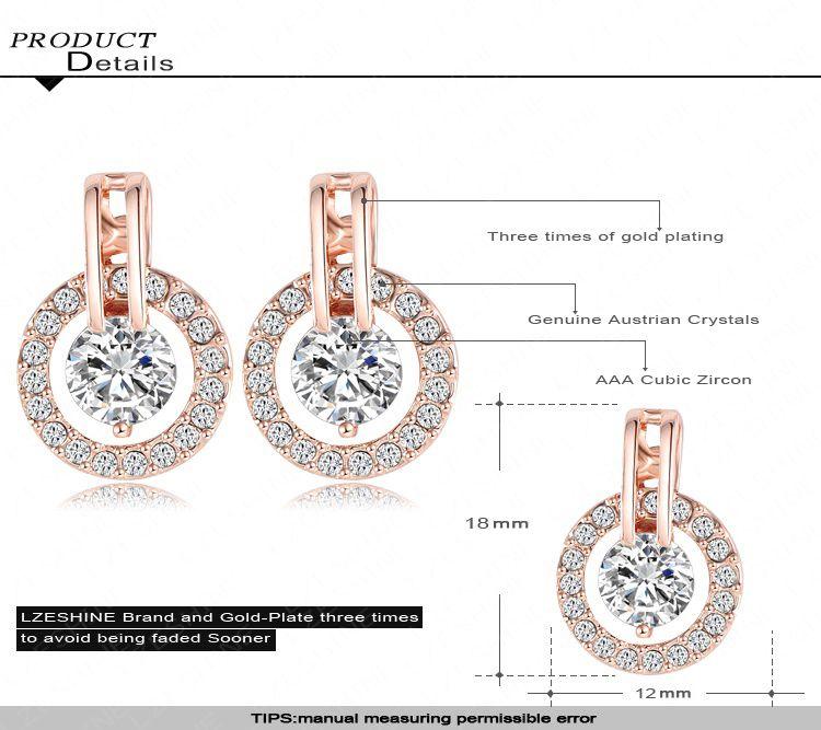 Beagloer Classic Luxury Circle Earrings Jewelry Rose Gold Plate Austrian Crystal SWA s Studs Earring ER0056-A