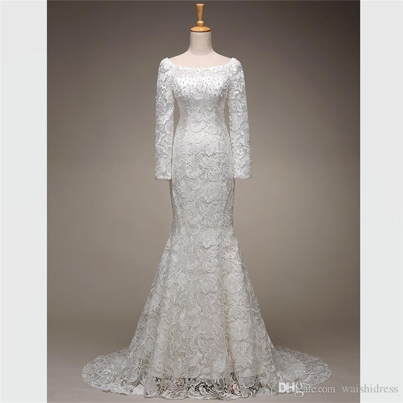 e78e22965db 2018 Charming Iovry Lace Long Sleeves Wedding Dresses Pearls Lace Up Mermaid  Wedding Gowns Custom Made Simply Sweep Train Bridal Dresses Champagne  Wedding ...