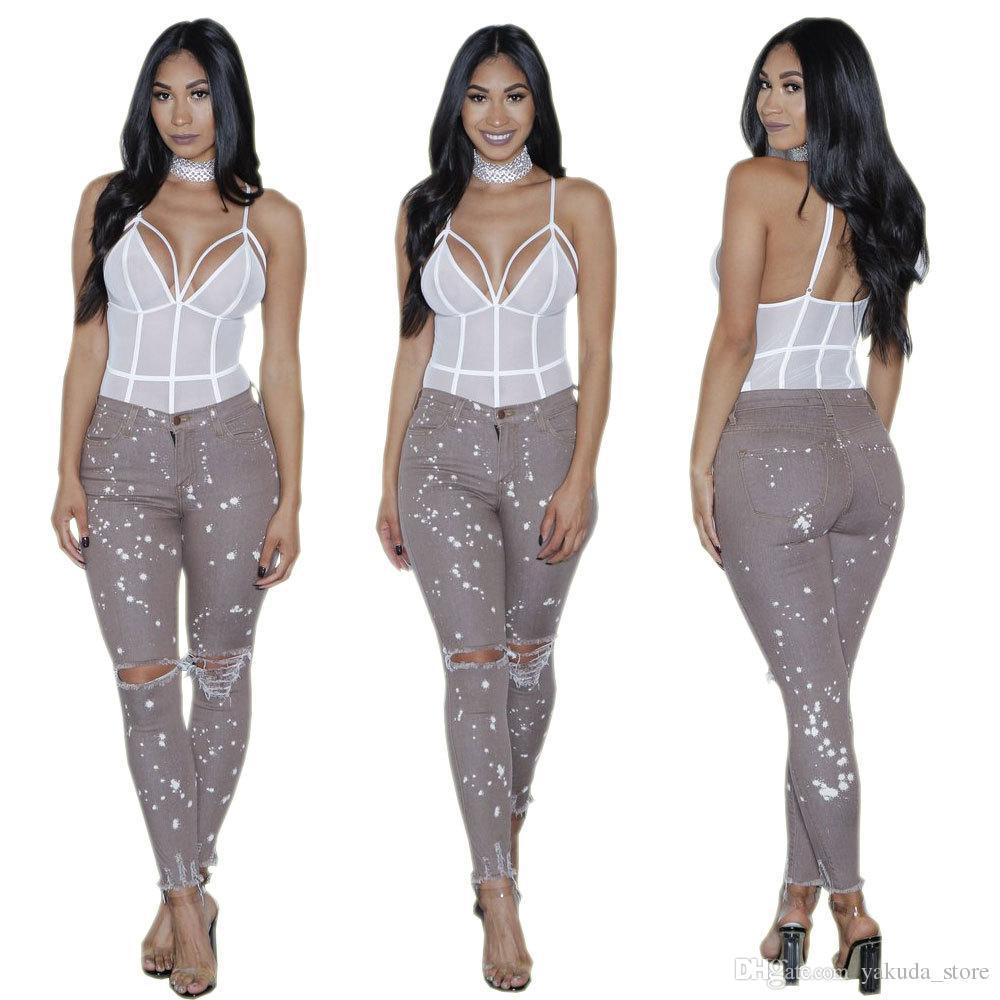2018 El Agujero de la Moda Europea y Americana en Ttight Jeans, estilo flaco, estilo de las señoras, pantalones delgados y talla 3XL