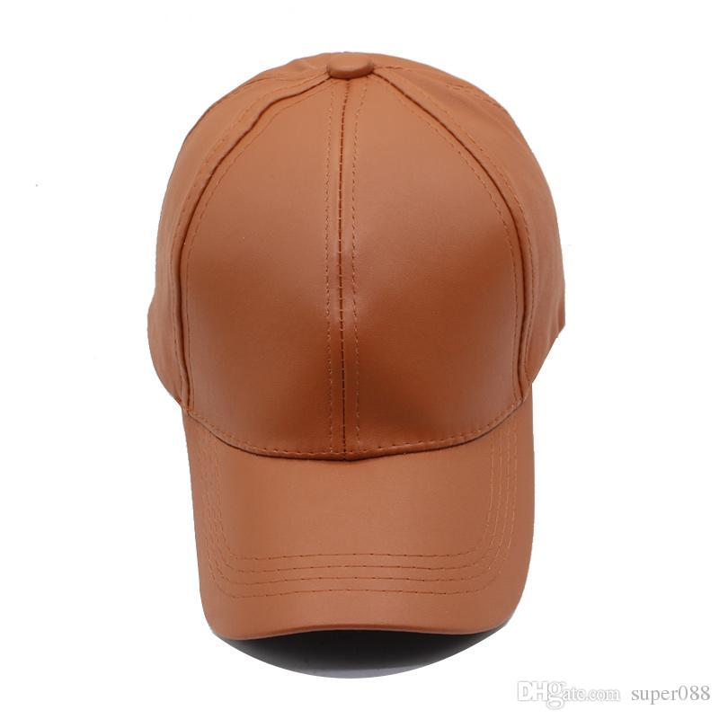 fff506c6ad4 Plain New Men Baseball Cap Women Leather Snapback Caps Casquette ...