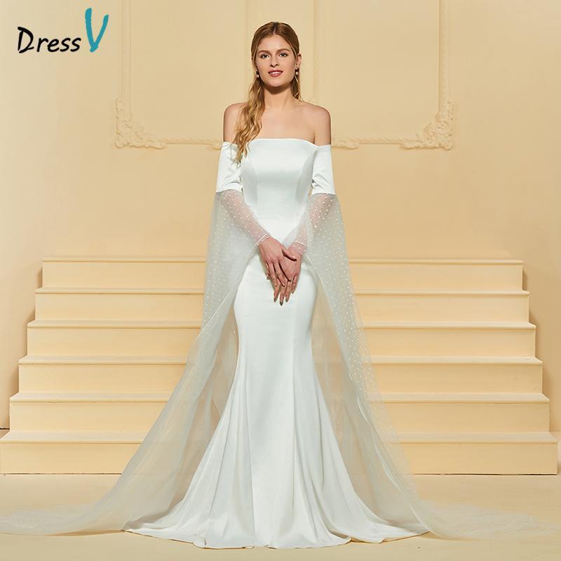 compre venta al por mayor vestido de novia de marfil largo fuera del