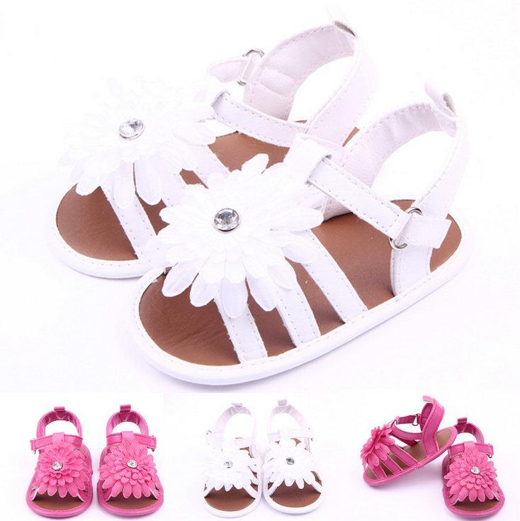 New Summer Baby Shoes Newborn Big Flower First Walkers Lovely Antislip Infants Girls Shoes