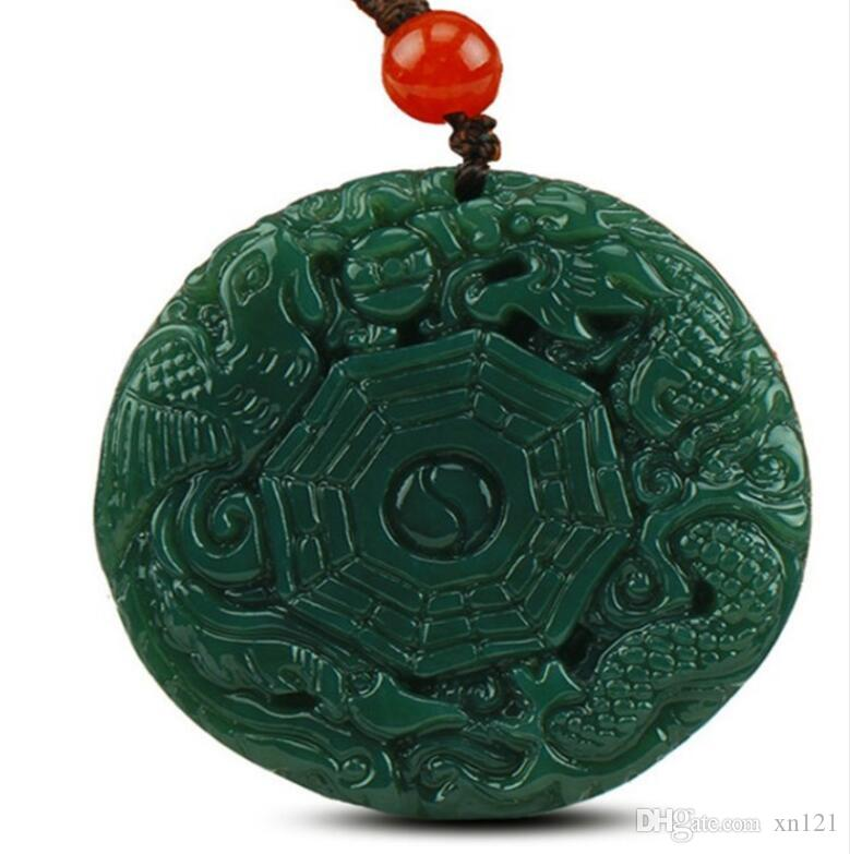 natural carved dragon and phoenix HETIAN jade pendant China QINGYU green necklace pendants