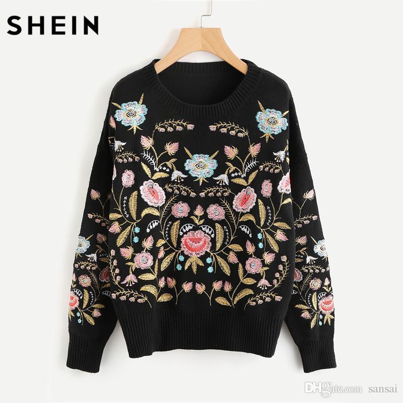 d99a48e7d7 SHEIN Symmetric Botanical Embroidered Jumper Black Long Sleeve ...