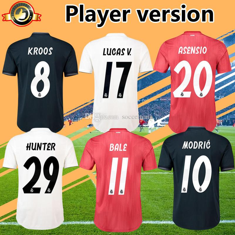 Real Player Version 2019 Madrid Soccer Jersey Home White Away Third ... ba1b387f5