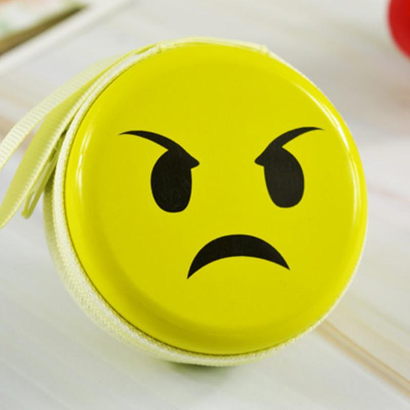 Lächeln-Gesichts-Karikatur-Mappen-Pers5onlichkeit-Kopfhörer-Beutel-Reißverschluss-Geschenke Emoji Lächeln kleines gelbes QQ Ausdruck-angefülltes Spielzeug für Beutel-Anhänger