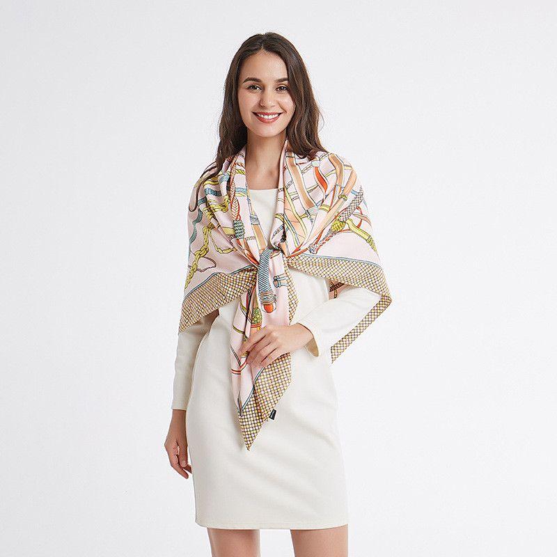 88276e849c0 POBING Twill Scarf Women Large Shawl Wrap Luxury Brand Square Scarves  Fashion Foulard Hijab Colored Whip Print Head Wrap 130 130cm Tube Scarf  Scarf Dress ...