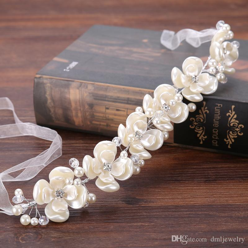 European Bridal Hair Band Flower Pearls Crystal Wedding headpieces Crowns Women Girls hairbands Headdress Wedding Veil Dress Hair Accessori