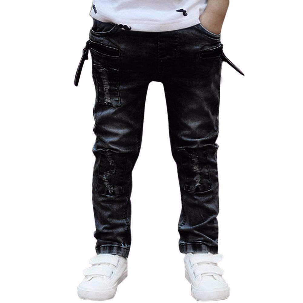 b0a9f3b18c62 Children Baby Boy Jeans 2017 New Cool Ripped Jeans Fashion Elastic Slim  Denim Long Pants Black Kids Casual Skinny For 1 6Y Boys Slim Cargo Pants  Ski Pants ...