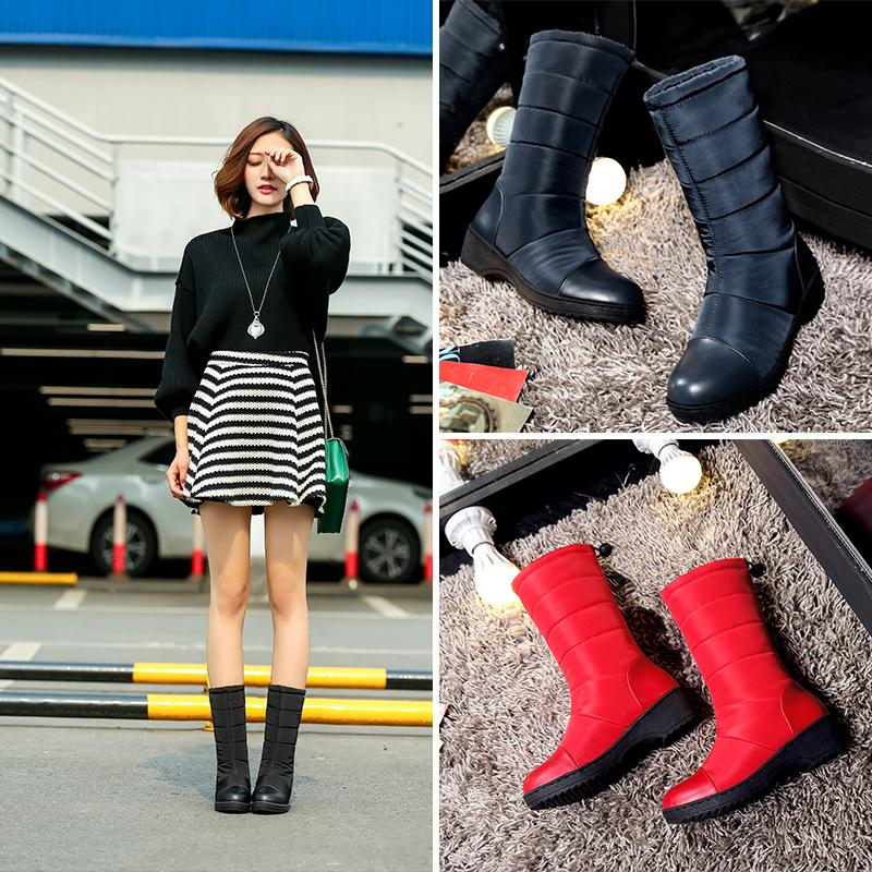 b2face9576b New Winter Boots High Women Snow Boots Plush Warm Shoes Plus Size Girl  Platform Mid Calf Waterproof Shoes Female Hot Boots For Women Black Boots  From Juiccy ...