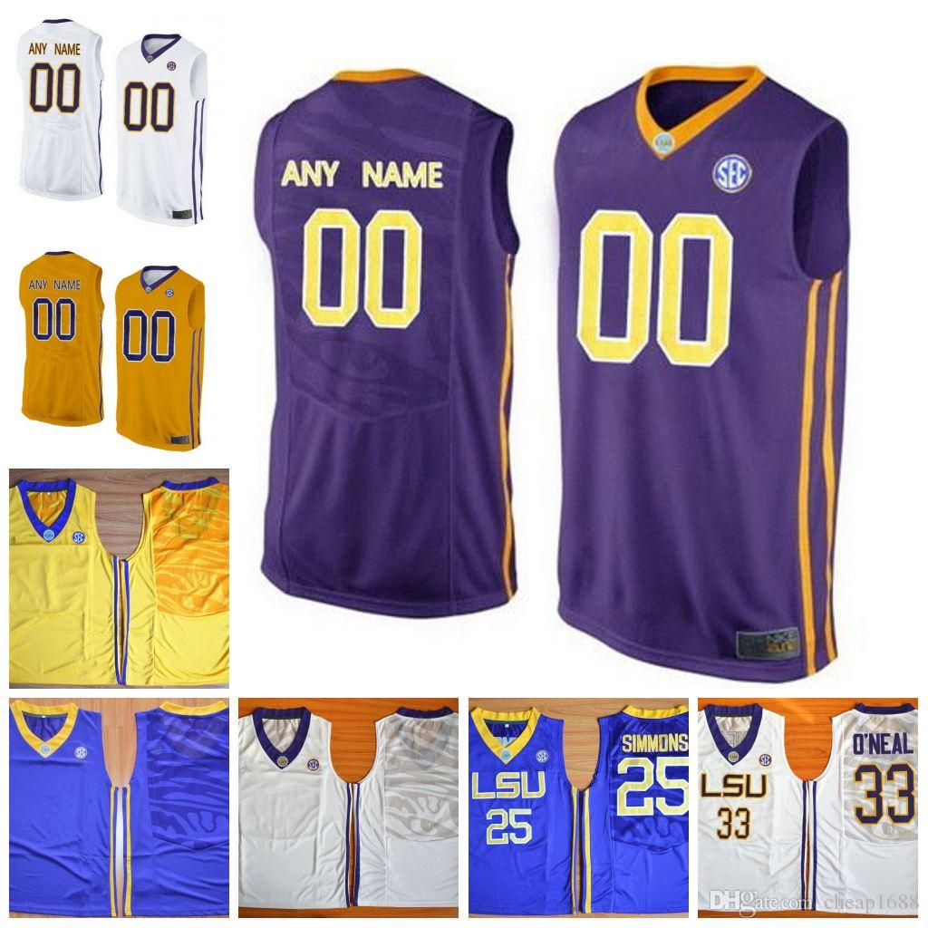 e6a709ebec3e 2019 Custom LSU Tigers NCAA 23 Pete Maravich 3 Tremont Waters 33 Shaquille  O Neal Stitched Any Name Number College Basketball Jersey From Cheap1688