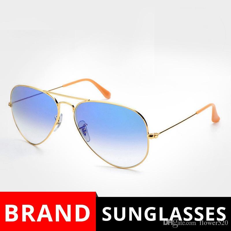 ba18fcebe Compre Óculos De Sol De Metal Gradiente Cinza Azul Vermelho Óculos De Sol  Piloto Estilo De Vidro Sun Glasse Oculos De Sol FEMININO UV400 Homens  Mulheres ...