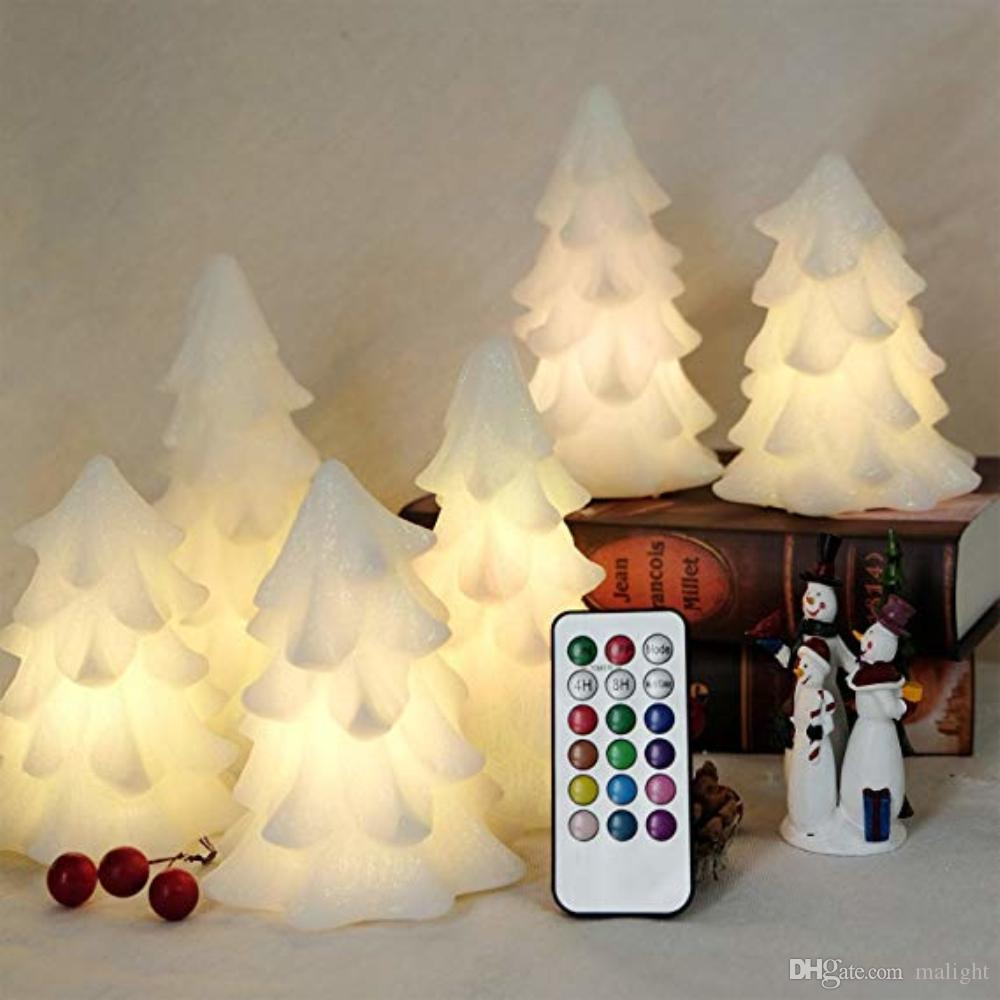 2018 battery operated led christmas tree flameless candles multi color changing real wax with timer and remote for christmashomepartyhallowee from
