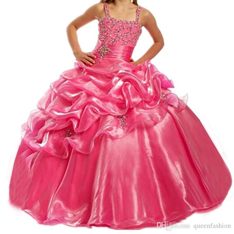 2020 filles Pageant robes bretelles spaghetti Rhinestone robe de bal robe de bal pour enfants enfants fille fleur