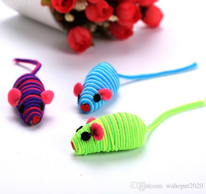 Usd0.49 / pc Envío gratis mascota gato gatito jugando juguetes ratón cinturón elástico ratón con sonido de juguete para gato gatito 20 unids / lote
