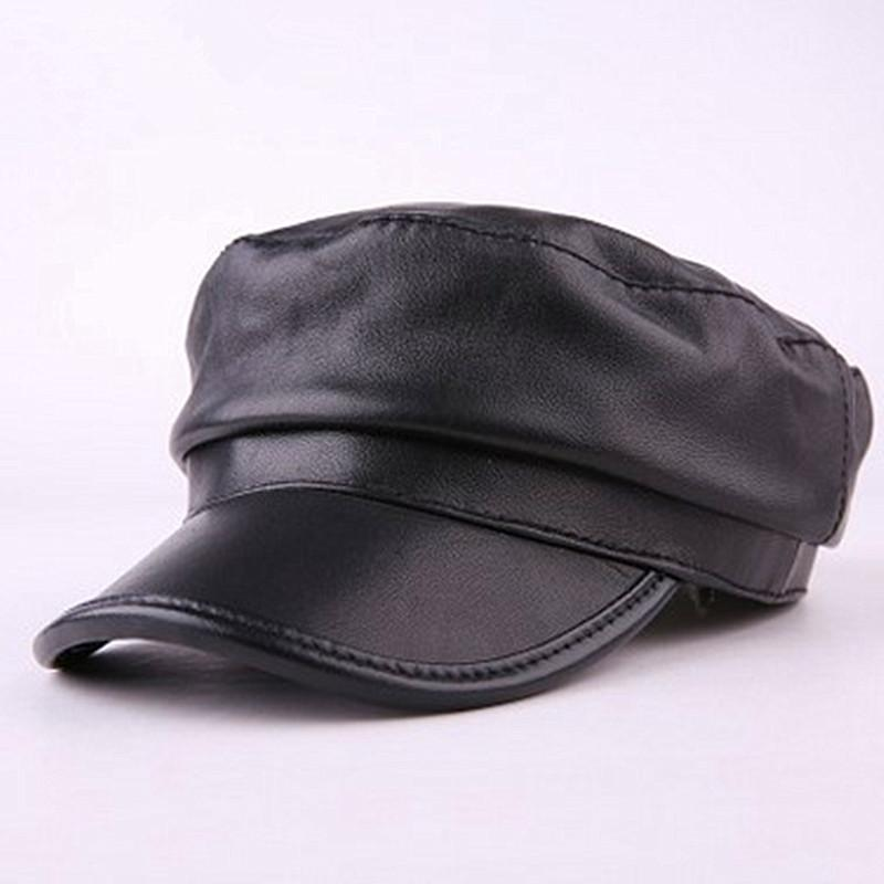 815a8dca629 2019 2018 New Style Autumn Winter Couple Hat Sheepskin Leather Warm Hats  Snapback Men Women Simple Youth Flat Top Hat Unisex From Htiancai
