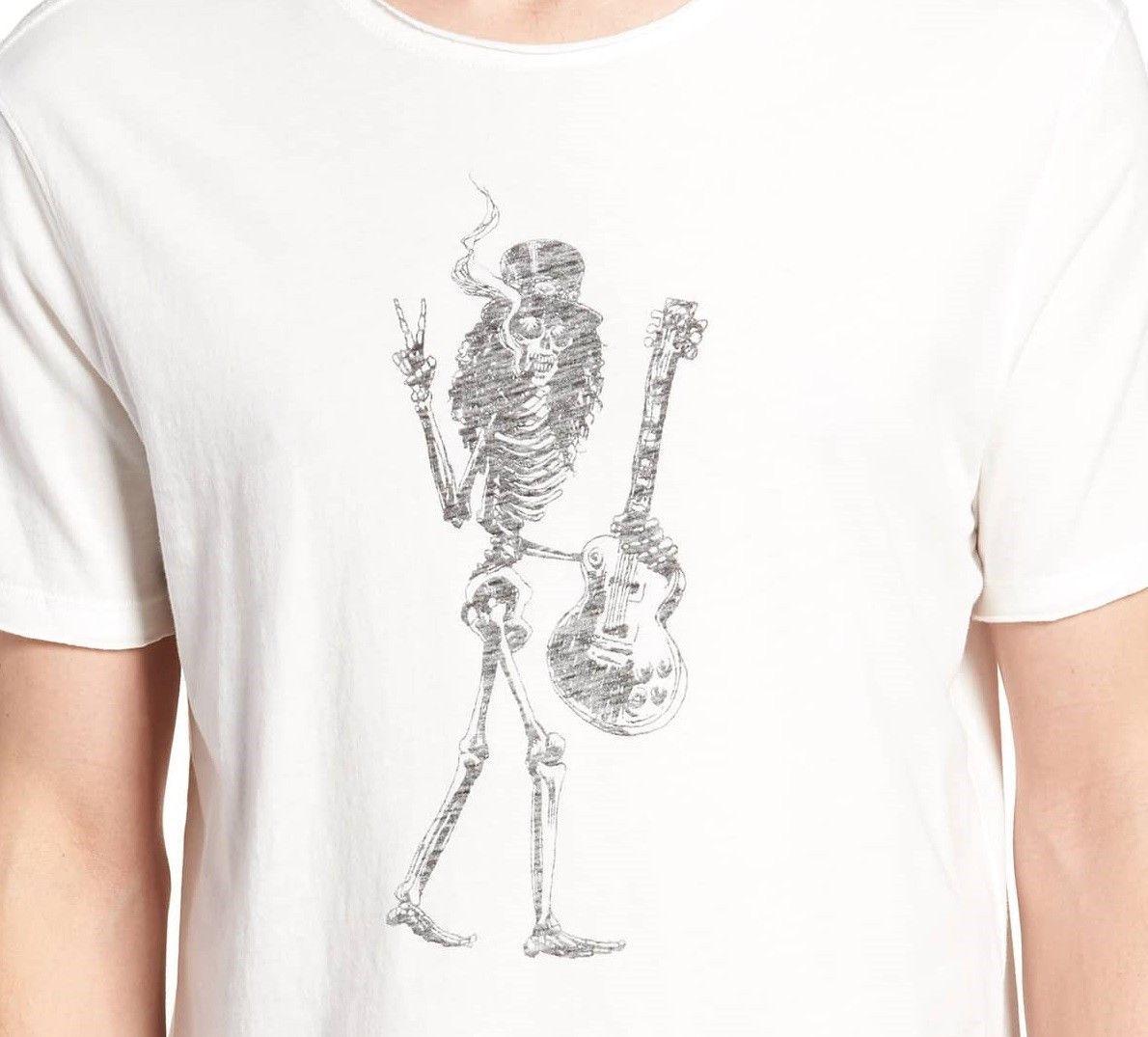 0423f79e0 John Varvatos Men's Slash Skeleton Rock Icon Raw Edge Graphic Crew T-Shirt  Salt