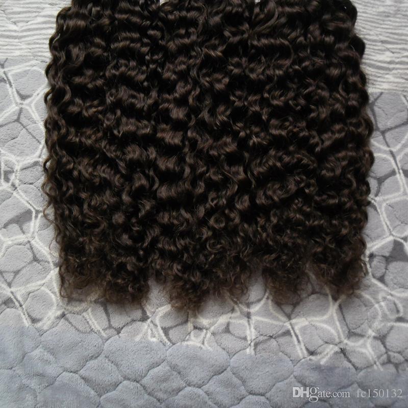 Prebonded Фьюжн наращивание волос кудрявый кудрявый вьющиеся 300г / пряди кератин палку я Совет бразильский Prebonded наращивание человеческих волос #2 темно-коричневый