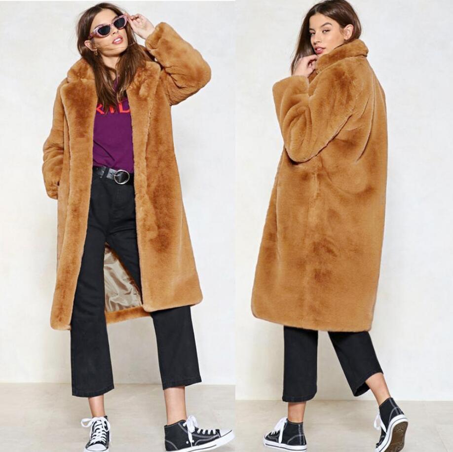 9cfc6626a62 2019 Women Faux Fur Coat 2018 Winter Faux Teddy Coat Long Fur Fashion Thick  Warm Jacket Plus Size Outwear A992 From Balsamor