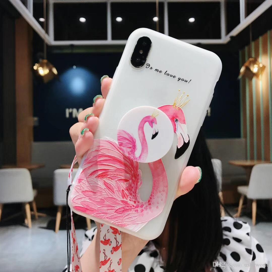 Cute Flamingo Phone Case With Wristband For Iphone X XR XS MAX TPU Case For Iphone 6 7 8 Plus