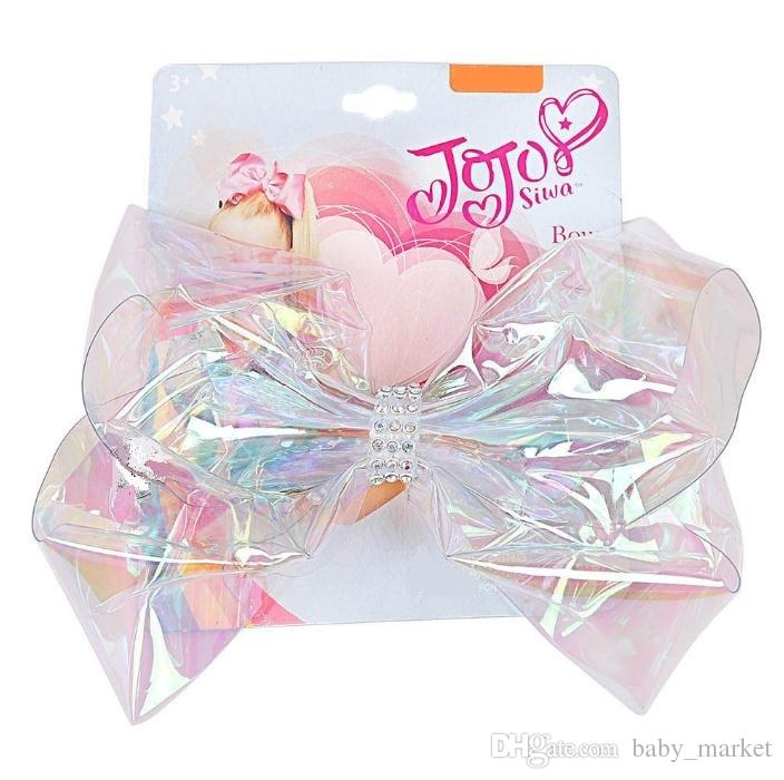 "5PCS/LOT Transparent Jojo Bow Siwa Signature Holla Graphic Large Hair Bow hair clip 6"" Crystal Girl Holographic New Hair Accessories."