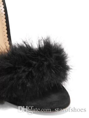 Summer 2018 Hot Women Fashion Sexy Black Fur Open Toe Lace Up Stiletto Heel High Heel Dress Party Sandals Nightclub Shoes Lady