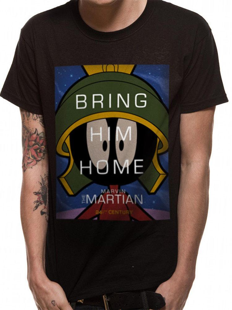 9139d3a8b5d Marvin The Martian Bring Him Home Official Looney Tunes Black Mens T Shirt  Cartoon T Shirt Men Unisex New Fashion Funny T Shirts Mens Shirts From ...