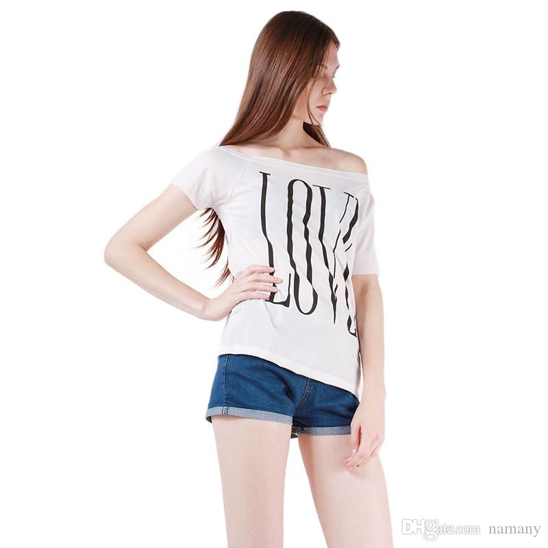 12dda43149b6c Wholesale New Summer Women T Shirt Short Sleeve Tees T Shirts Sexy Off  Shoulder Tops White Black Letter LOVE Print Tees Plus Size DP658932 Purchase  T Shirt ...