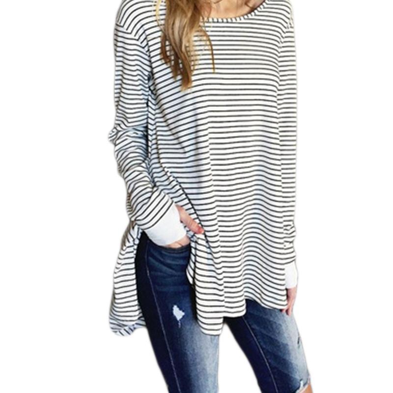 30772fb2149f 2019 Striped Shirt Tees Long Sleeve Black And White Stripes T Shirt Women  Loose Student Bottom T Shirt Tops Dropshipping Awesome Tee Shirt Designs T  Shirts ...