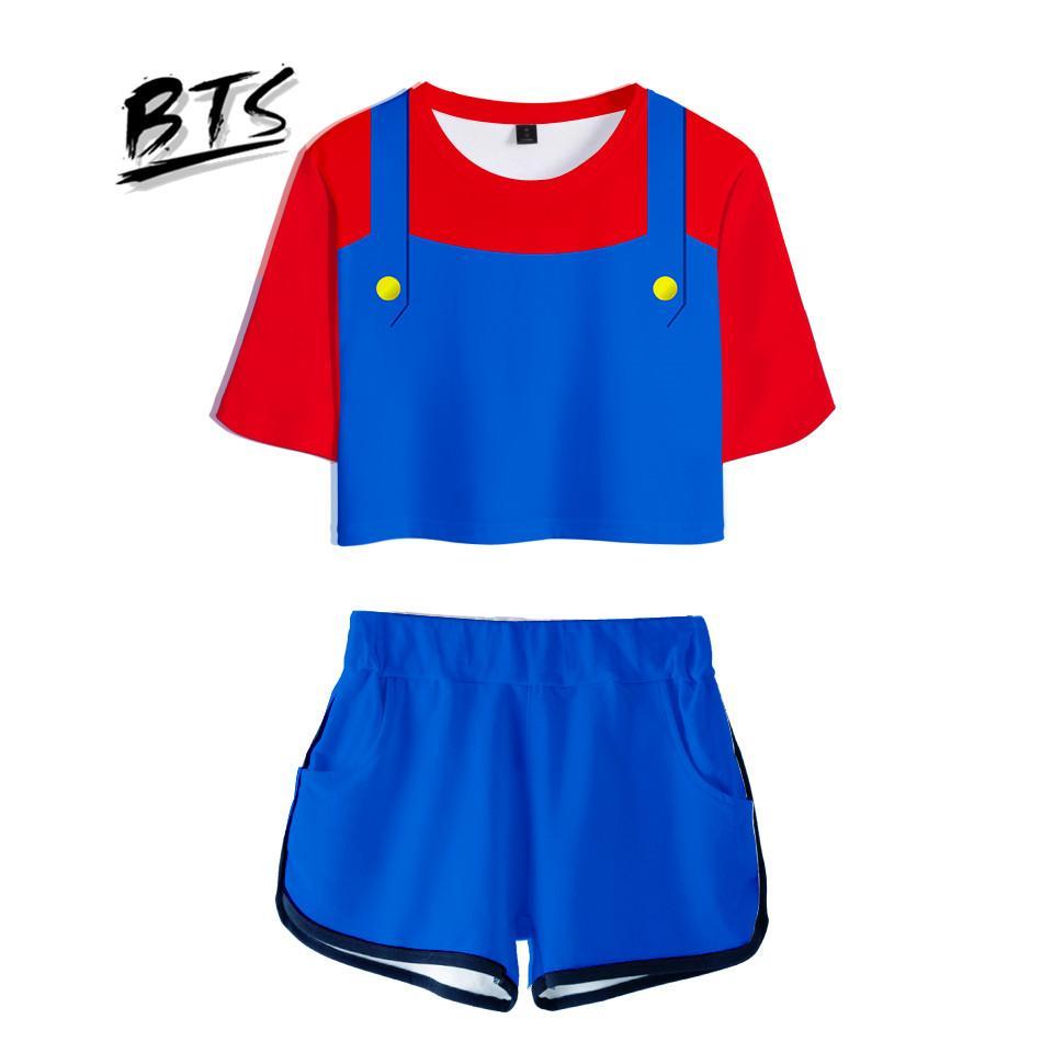 9f3d11f95f3 BTS 2018 Hot Sale Casual Cool Crop Tops Women 3D Mario Shorts And T ...