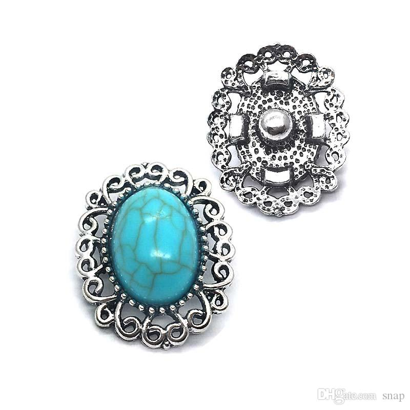 High quality w276 turquoise flowers 18mm 20mm rhinestone metal button for snap button Bracelet Necklace Jewelry For Women Silver jewelry