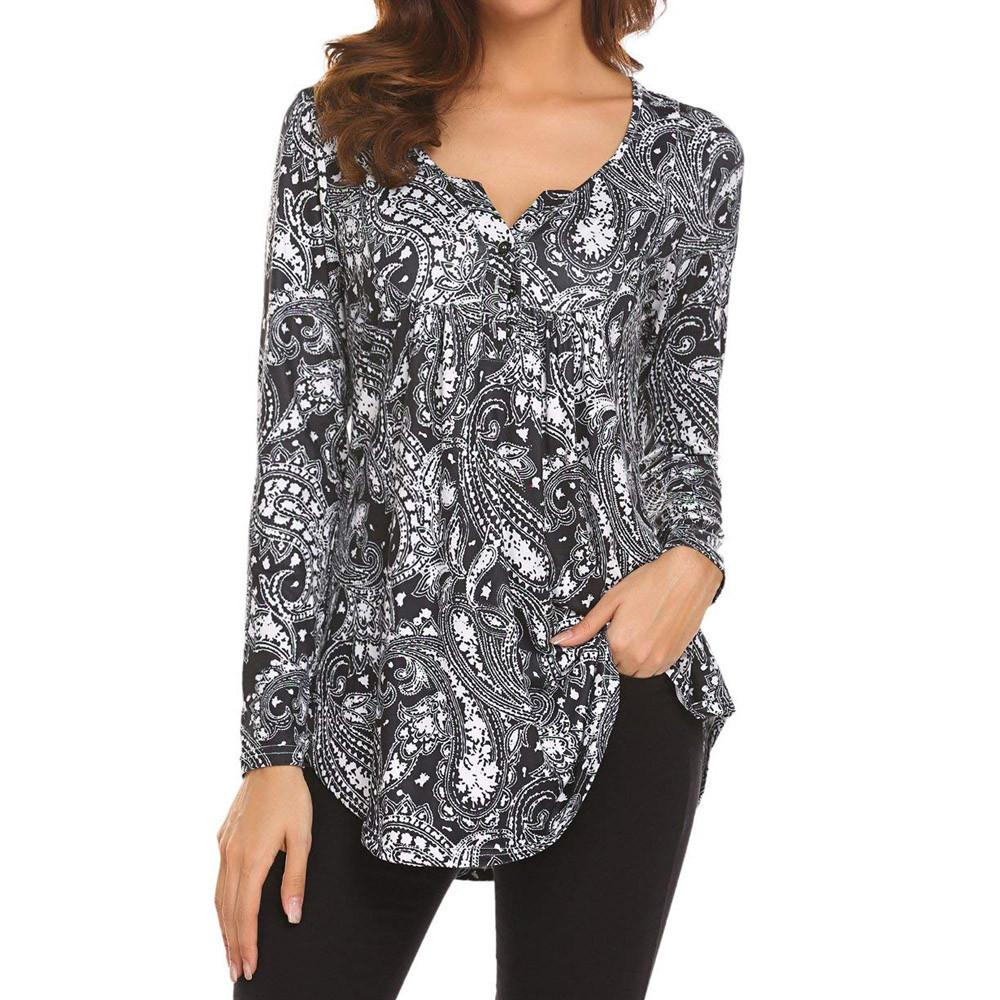56ea5dfc1dca ISHOWTIENDA Spring Summer Casual Black Tshirt Women Long Sleeve Floral  Print Ladies Tops Slim Plus Size Loose T Shirt Women Designer T Shirts  Funny T Shirt ...
