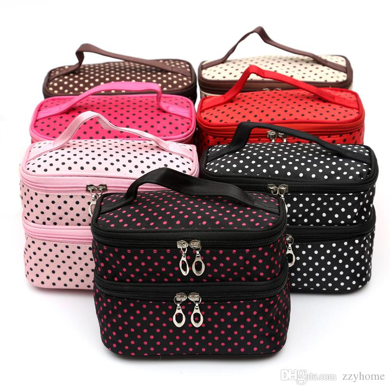 d4b0f4ea86d0 Small Dots Lovely Makeup Bag Portable Travel Storage Wash Bag ...