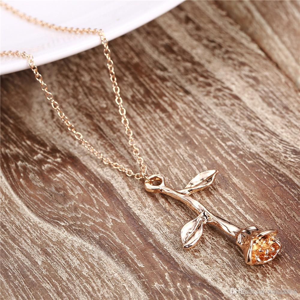 Femme Collier Silver/Gold Rose Flower Charm Necklace for Women Maxi Rose Choker Necklace Boho Jewelry Gift