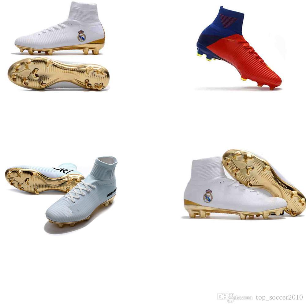 3d0ec901a44f5a Acquista Nuovi Rossi Tacchetti Da Calcio Uomo Real Madrid Mercurial  Superfly V FG Cr7 Cristiano Ronaldo Scarpe Da Calcio Scarpe Da Calcio Donna  Turf A $52.8 ...