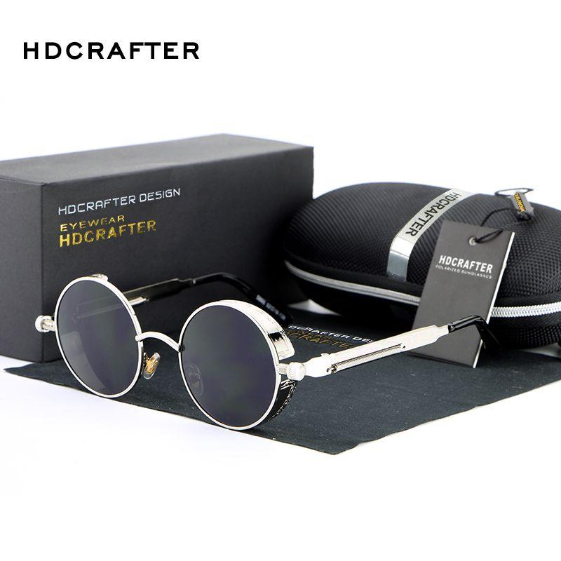 54f88317733 HDCRAFTER Vintage Round Metal Steampunk Sunglasses Polarized Brand ...