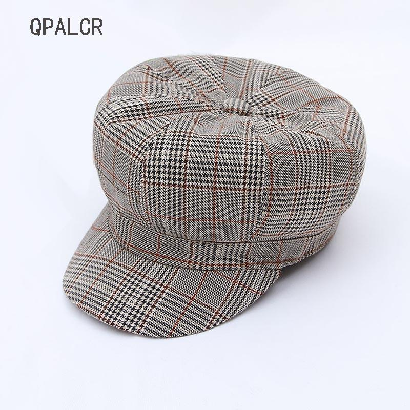 Großhandel Qpalcr Neue Mode Mädchen Hut Retro Baumwolle Plaid ...