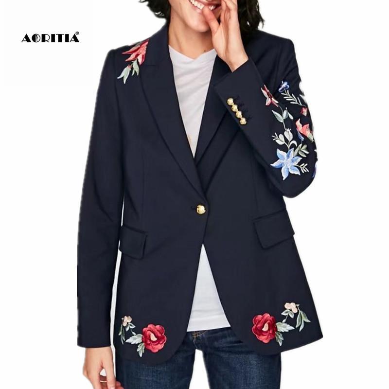 Compre 2017 Otoño Primavera Mujer Floral Bordado Blazers Y Chaquetas Abrigo  Prendas De Vestir Exteriores Blazer Mujeres D1892602 A  38.88 Del Shen07 ... 0b3e1e45fedd