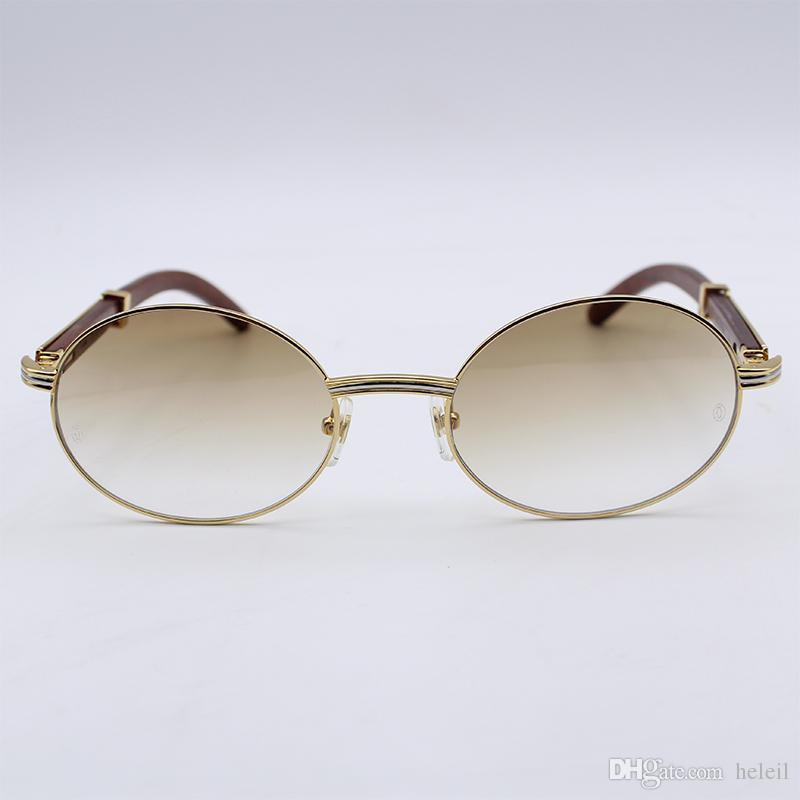 503b87fb60 Compre Marcos De Metal De Lujo 18K Gafas De Sol De Oro Hombres Diseñador De  Madera Real Gafas De Sol De Decoración Hombres Y Mujeres Moda Metal De Caja  ...