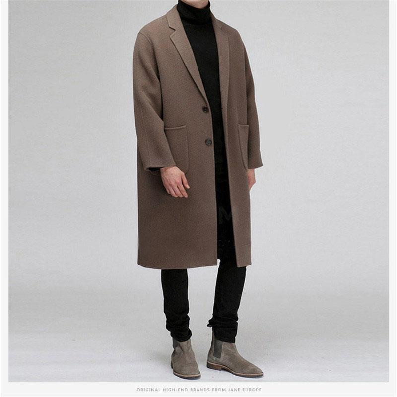 Autumn Long Coat Male New Fashion Casual Thick Lamb Wool Blends Loose Warm Single Breasted Windbreaker Winter Jacket For Men