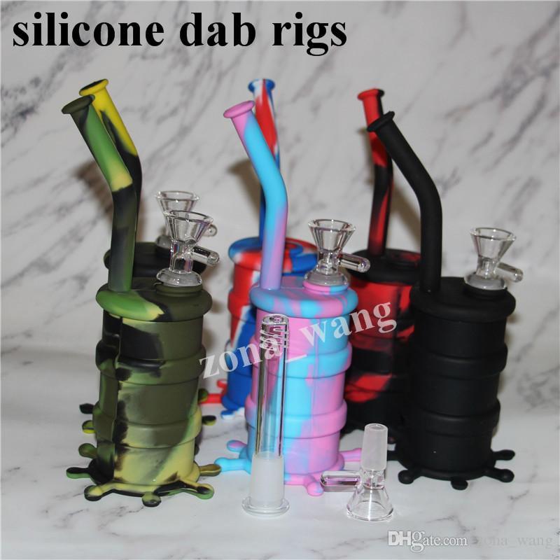 En gros Mini Rigs En Silicone Dab Jar Bongs Pipe Pipe À Eau Silicon Oil Drum Rigs Pipes À Eau En Silicone bubbler bong