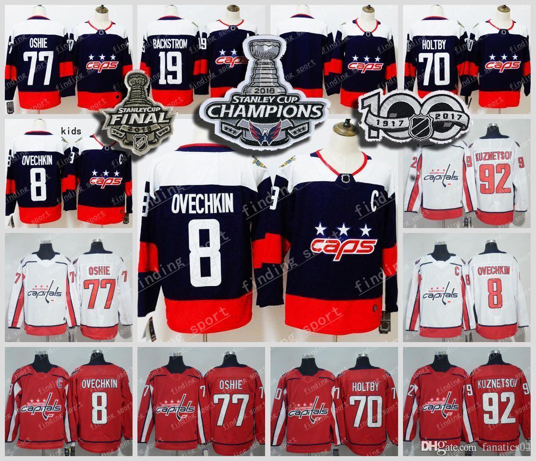 d95fb3c9841 2019 2018 Washington Capitals Stanley Cup Champions 8 Alexander Ovechkin 77  TJ Oshie 70 Braden Holtby 19 Nicklas Backstrom Hockey Jerseys From  Fanatics04
