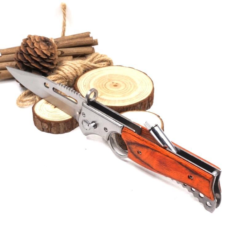 Büyük Boy AK47 Katlanır Silah Bıçak Cep Taktik Bıçak 440 Bıçak Ahşap Kolu Avcılık Survival Bıçak LED Işık Savaş Ile Açık EDC Aracı